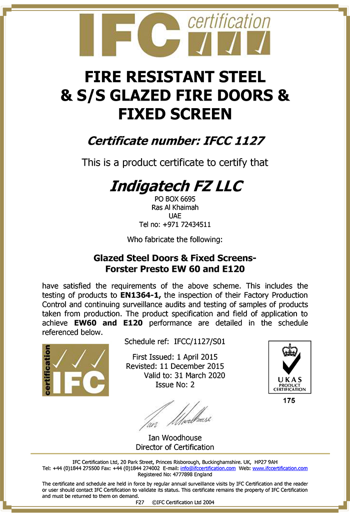 FIRE RESISTANT STEEL GLAZED FIRE DOORS & FIXED SCREENS - FORSTERS PRESTO EW60 AND E120 - IFC-1127
